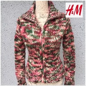 H&M Women's Chunky Knit Multicolor Pullover